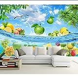 Pbbzl Nuevo 8D Bloque De Mural Grande Papel Pintado 3D Fruta Verano Junto Al Mar Mural Pintura Al Óleo 3D Para El Fondo Del Sofá 3D Decoración De Paredes Que Cubre-120X100Cm