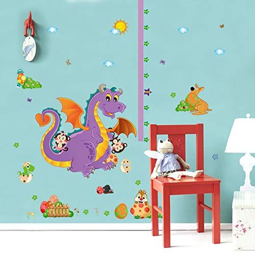 KPOIYRL Belle Dinosaure Grandir Hauteur Mesure Règle Pépinière Enfants Enfants Chambre Amovible Carreau Mur Autocollants Stickers Décor Mural