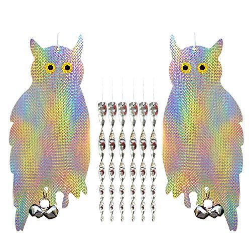 EasyBravo 2er Pack Hängende Eule Vogel Repellent Control Scare Gerät-Reflektierende Deterrent Woodpecker Mit 6 Packs 12 Zoll Spiral Reflective Rods -