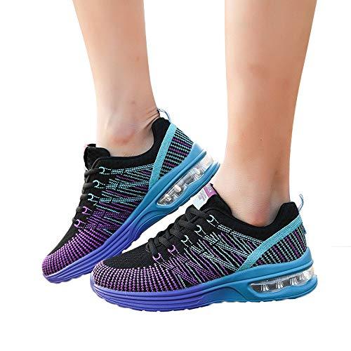 Dorical Damen Leichte Laufschuhe Outdoor Jogging Sneaker Sportschuhe Unisex, Tennisschuhe Sneaker Für Männer Frau Turnschuhe Freizeitschuhe, Neon Turnschuhe Sneaker Sportschuhe(Lila,40 EU)