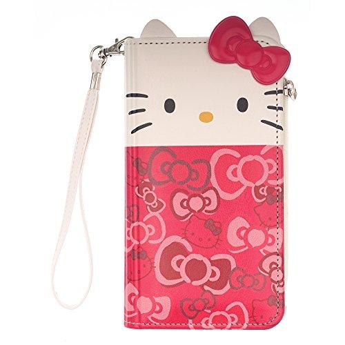 WiLLBee Galaxy S9Plus Case Süße Hello Kitty Tagebuch Wallet Flip Synthetisches Leder/Stoßdämpfung/Trageriemen im lieferumfang [Samsung Galaxy S9Plus] Cover, Wallet Body Ribbon Pink (Galaxy S9 Plus)