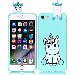 HopMore Funda iPhone 7 (4.7 Inch) Silicona Motivo 3D Divertidas TPU Gel One Piece Kawaii Ultrafina Slim Case Antigolpes Caso Protección Flexible Cover Design Gracioso para iPhone 7 - Lindo Unicornio