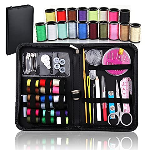 BoRui 58 in 1 Sewing Kit,Portable Needlework Box for Home, Mini Household Sewing Accessories for Home,Travel and Emergency Use (