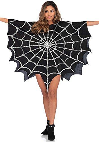 Leg Avenue Glitter Web Poncho, schwarz -