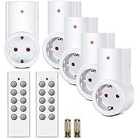 Etekcity Funksteckdosen Set aus 5 x Funksteckdose mit 2 x Fernbedienung, Funkschalt Set Selbstlern-Funktion, 2300 Watt für Licht, Haushaltsgeräte, Reichweite 30m, Weiß