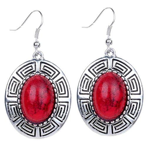 Yazilind Gancho pendientes Vintage de plata tibetana Red Oval turquesa