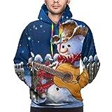 Pupazzo di Neve di Natale Occidentale Gioca alla Chitarra Felpe con Cappuccio Stampate di Moda Stampate Unisex Felpe con Cappuccio per Sport e Feste M