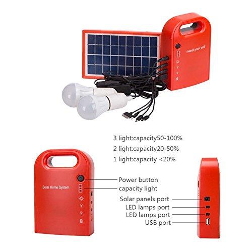 otection Portable Home Outdoor Kleine DC Solar Panels Ladegenerator Power Generation System 4.5Ah / 6V Blei-Säure-Batterien mit 6000K-6500K Weiße LED-Birne und Handy-Ladefunktion (Tragbare Elektrische Generator)