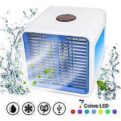 MOKIU Climatiseur portable Refroidisseur D'air Portable USB Ventilateur 3 EN 1 Réglable Air Climatiseur Mini Air Refroidisseur Humidificateur Purificateur