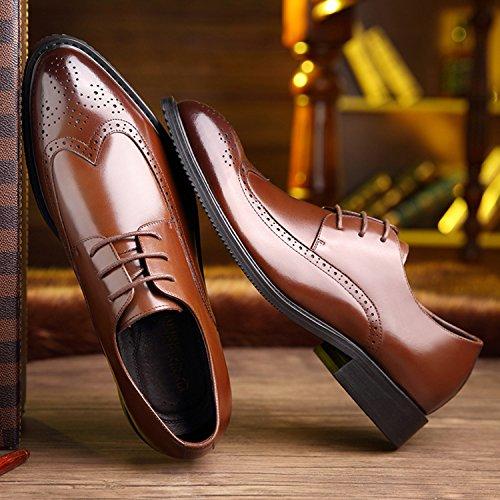 HENGJIA Herren Klassische Rindleder Businessschuhe Brogue Schnürhalbschuhe Oxfords Budapester Braun