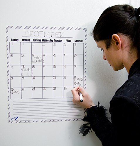 Dry Erase Kalender Magnete Monatliche Magnettafeln groß–35,6x 43,2cm B & W Küche Magnettafeln