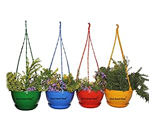 First Smart Deal Plastic Hanging Pot (Multicolour, Pack of 4)