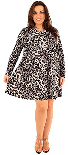 Chocolate Pickle ® Neue Damen Plus Größe Tier Floral Printed Long Sleeve Swing-Kleid Animal-Black