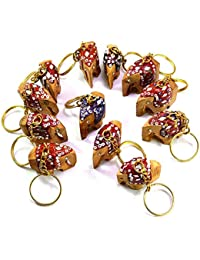 FeelOrna Handicrafts And Jewellery Wooden Hand Carved Elephant Keychains (Multicolour) - Set Of 12