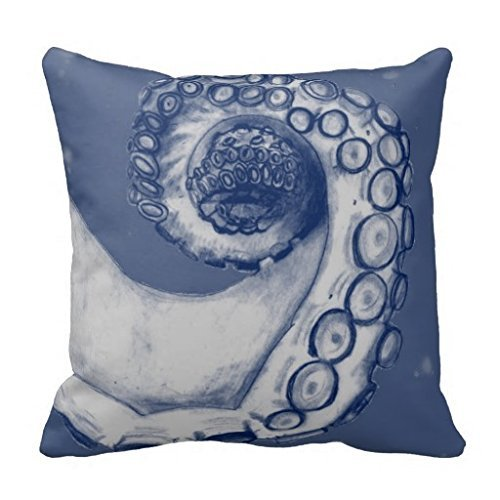 Joy City Blue and Silver Nautical Octopus Tentacle Throw Pillowcase 18 X 18 Square Throw Pillow Cover Cushion