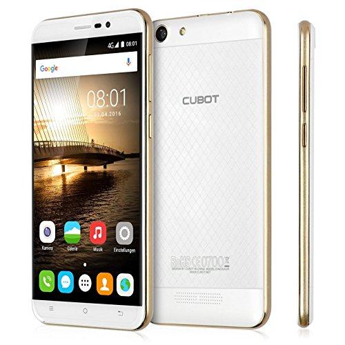Cubot FDD-LTE 4G Smartphone, Android 6.0 Display 5.5'' Full HD, Processore Quad Core 64bit 1,3 GHz, 16GB Memoria Interna, 3GB RAM, Fotocamera 13MP, 4150mAh Batteria, Dual SIM (Bianco)