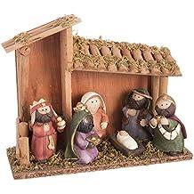 Belén de Navidad con Portal de Resina marrón Infantil para decoración navideña ...