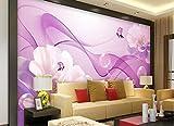 Yosot 3d Innenraum Tapeten Schöner Traum Lila Blume Line Schmetterling Tv Hintergrund Wandbild-350Cmx245Cm