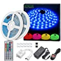 LED Strip Light Waterproof MINGER 10m RGB SMD 5050 LED Rope Lighting Color Changing Full Kit with 44-Keys IR Remote Controller & Supply LED Lighting Strips for Home Kitchen Christmas Indoor