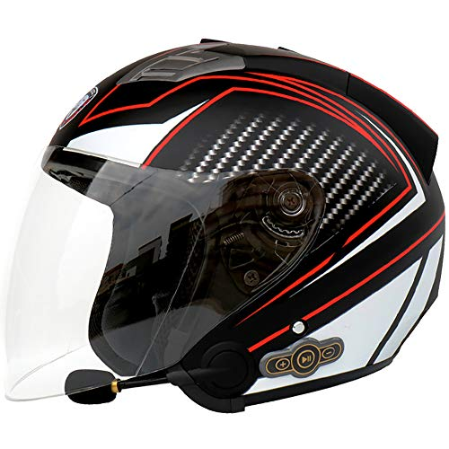 JohnnyLuLu Casco Moto Open Face Moto Bluetooth, caschetto Smart Jet Chopper Cruiser Jet Pilot, Casco motorino Scooter Racing per Adulti,Clear,L