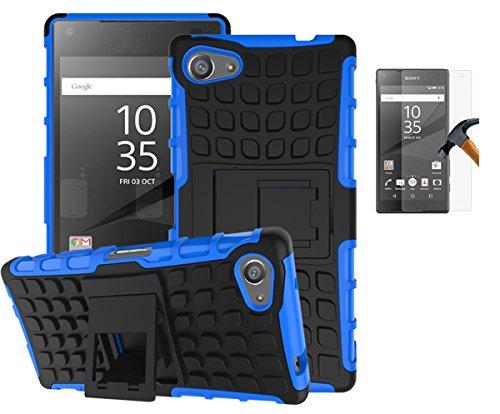 Preisvergleich Produktbild Sony Xperia Z5 Compact / Z5 mini(2015)Hülle mit Panzerglas, TPU+PC Ultra Slim Silikon Tough Rugged Dual-Layer Hardcase with Built-in Kickstand Thin Stand Case