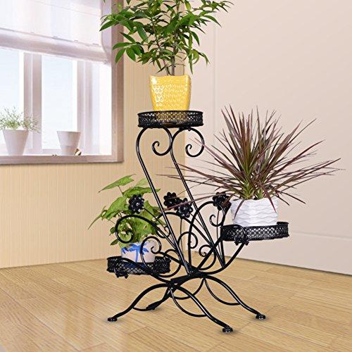 Multi-function flower pot rack/massives eisen/balkon treppe anlage ständer/konservierungsmittel für moderne einfache drei schichten-drei farben-C (Klar, Holz-konservierungsmittel)