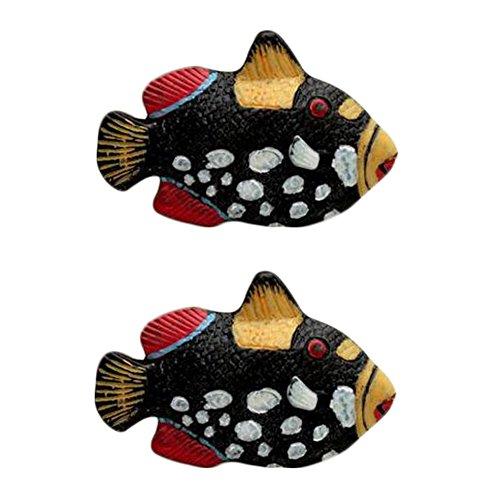 Ocean Tiroir Poignées Cabinet Boutons Pack Of 2, Black Fish