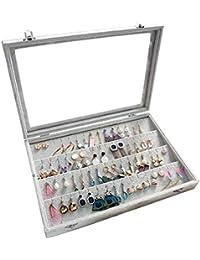 Bienser Earrings Organiser, Velvet Clear Lid Earring Holder & 32 Pairs Earrings Storage Box Jewellery Display Showcase Case Lockable - Grey