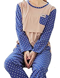 Bold N Elegant Blue Polka Dot Soft Cotton Maternity Sleepwear Sets Pregnancy Night Suit Night Dress Feeding Nursing Pyjama Set