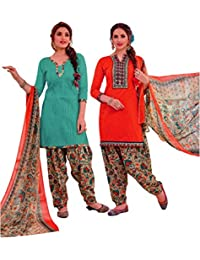 EasyToShop Retail Women's Cotton Printed Salwar Suits Unstiched Dress Materials (Combo Pack Of 2) _AMVRRR008_Emerald...