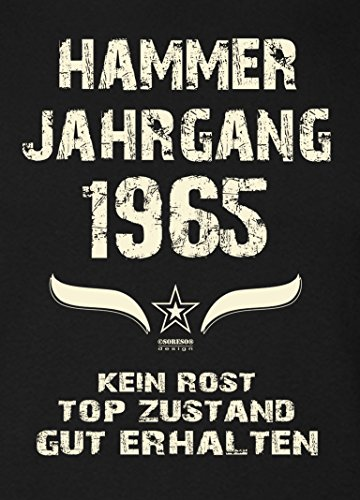 Geschenk-Set für Männer :: Hammer Jahrgang 1965 : Herren Kurzarm T-Shirt : Geschenkidee zum 52. Geburtstag : Geburtstagsgeschenk auch in Übergrößen Farbe: schwarz Schwarz