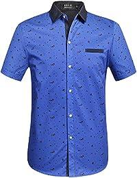 SSLR Camisas Hombre Manga Corta Casual para Verano Flores Ajuste Recto