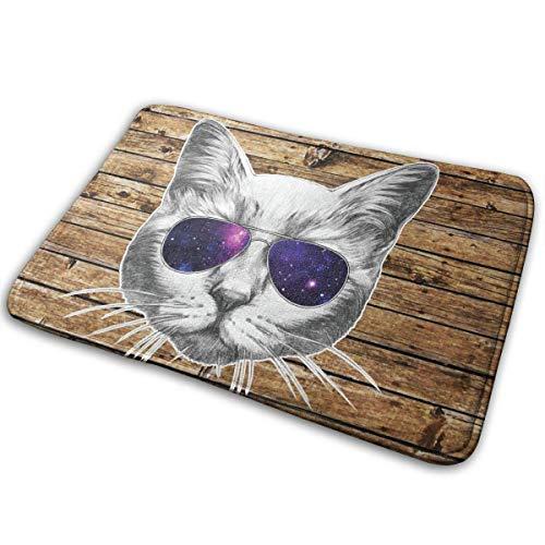Uosliks Fußmatte Katze mit Brille Eingangsmatten 15.7X23.6 Zoll