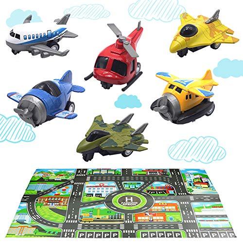 HERSITY 6er Set Metall Flugzeug Hubschrauber Kampfflugzeug Spielzeug und Auto Spielmatte Zurückziehen Spielzeugauto Kuchendekoration Spielsachen KinderSpielzeug Party Geschenk für Kinder