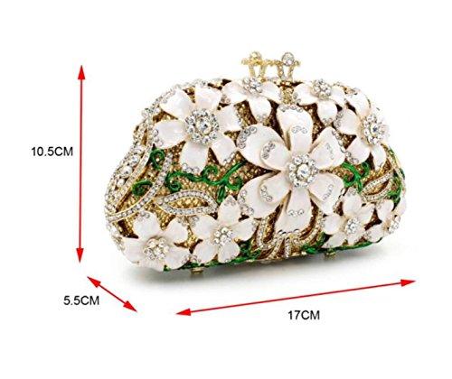 Metallkristall Black Blumen Abendessen Damen Diamant Abendtasche Tasche Decke Luxus zfUaI