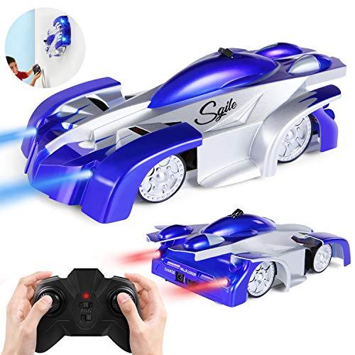 SGILE A- Escalador de Pared de Juguete, Modo Dual, rotación de 360°, Auto de Carreras Control Remoto, Cabeza LED Recargable, Regalo para niños y niñas, A-Blue