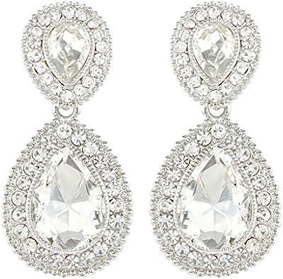 Ever Faith 2 de boda en forma de lágrima cristal austríaco transparente Juego de pendientes de plata-tono N03977-1