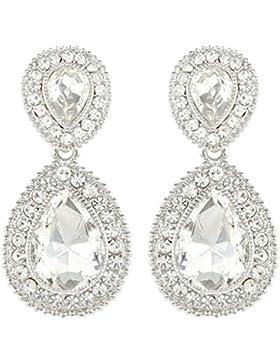 EVER FAITH® österreichischen Kristal elegant Träne Form Art Deco Ohrring Anhänger klar Silber-Ton N03977-1