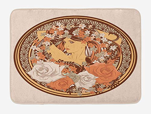 CHKWYN Boho Bath Mat, Hippie Ethnic Design with Flowers and a Women with Hair Standing in The Middle Art Print, Plush Bathroom Decor Mat with Non Slip Backing, Brown,20X31 inch