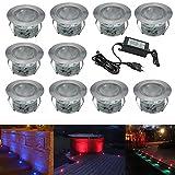 10er Set Terrassen Einbaustrahler Ø45mm RGB Bodeneinbaustrahler IP67 Wasserdicht Boden Licht Farbwechsel-LED Terrasse Garten Lampe Aussen Einbauleuchten