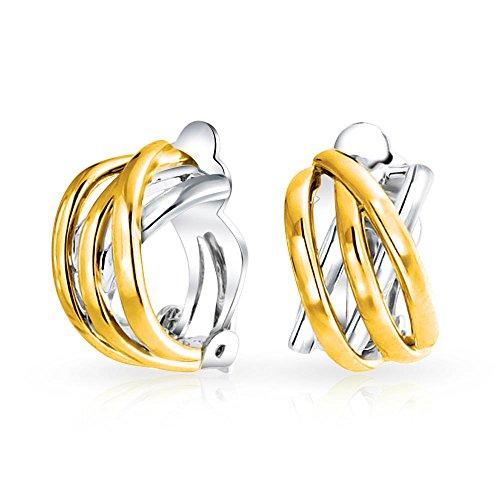 Zwei Ton Öffnen Wickelring Keltisch Knoten Knüpfen Große Hälfte Creolen Ohrclips Ohrringe Silber 14K Vergoldet Messing -