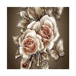 Amazingdeal365 Motiv-alte Modisch Rose 5D DIY Diamond Stickerei Malerei Kreuzstich für Balkon,Terasse,Café,Kinderzimmer,Wohnzimmer, Schlafzimmer, Arbeitszimmer usw.