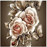 DIY Retro Flower 5D Diamond Painting Embroidery Paint-by-Number Kit Home Wall Decor 35 x 35(cm)