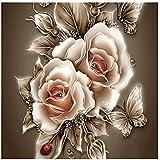 Tomtopp 35 * 35 cm DIY 5D Diamond Retro Flower Painting Embroidery Home Decor Craft