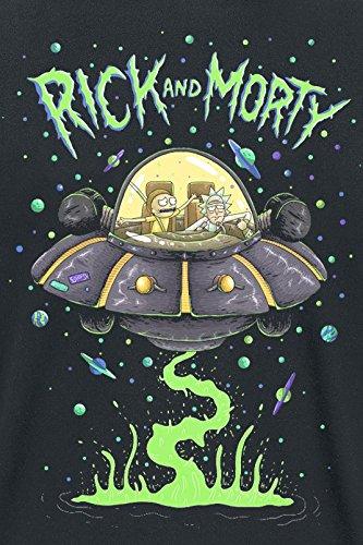 Rick and Morty Spaceship T-Shirt Schwarz Schwarz