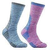 YUEDGE 2 Pares Mujeres Calcetines de Senderismo Trekking anti ampollas Respirables Corriendo Calcetines Deportivos, alto rendimiento (L, Púrpura rosado/Azul claro)