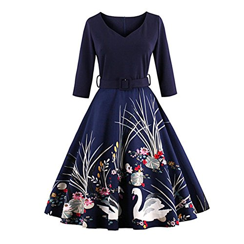 Allouli Elegant Swan Navy Print 50s Vintage Women Dress V Neck 3/4 Long Sleeves Belt High Waist With Zipper Swing Party Retro Female Dresses (High-waist Floral Pencil-skirt)