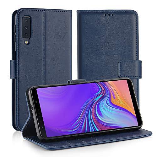 Simpeak Ersatz für Samsung Galaxy A7 2018 Hülle Blau [6,0 Zoll], Case Cover für Samsung Galaxy A7 2018 flipcase [Kartensteckplätze] [Stand Feature] [Magnetic Closure Snap]