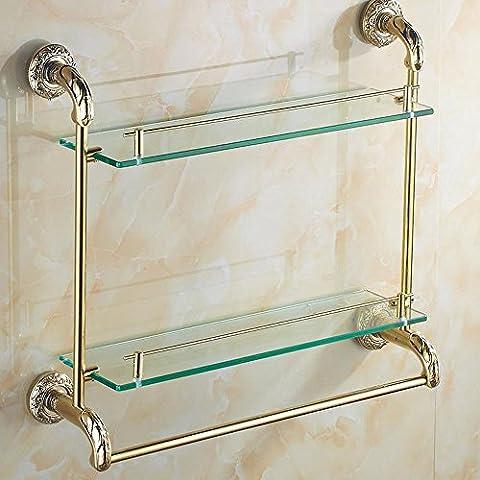 YUPD@Bagno d'oro ripiani vetro bagno cromato doppio rack
