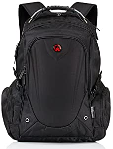 """The Edwardian Backpack by Camden Gear. Fits up to 17"""" Laptop. Rucksack For School - Hiking. Great Bag for Men and Women. Water Resistant, Best with Multiple Compartments. Black"""